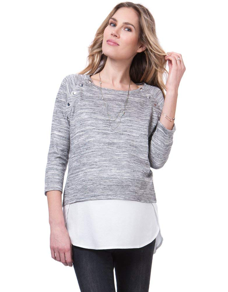 Seraphine Womens Casual Sweater Layered Sweater Maternity Nursing in Grey White by Seraphine