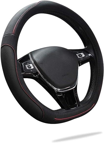 15 Ergocar Sport D-Shape Car Steering Wheel Cover Non-Slip Car Steering Wheel Protector Microfiber PU Leather Universal for Diameter 38cm