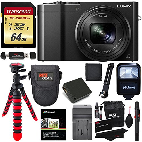 Panasonic DMC-ZS100K LUMIX 4K Digital Camera 20 Megapixel Sensor, WiFi Black + 64GB Memory Card + Battery, Charger + Flash + Tripod + Lowepro Case + Ritz Gear Cleaning Kit + Accessory Bundle