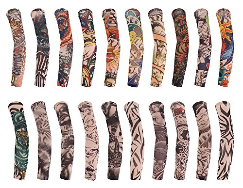 TAUT 20pcs Set Unisex Body Art Arm Stockings Slip Fake Temporary Tattoo Sleeves ()