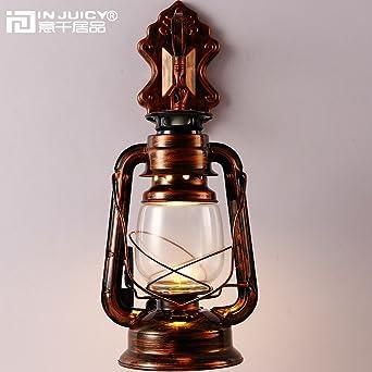 Injucy Lighting Vintage Industrial Edison Barn Lantern Iron Kerosene Lamp  Oil Light Copper Sconces Wall Lamps
