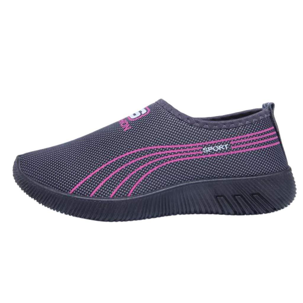 Garish  Women's Striped Casual Anti-Slip Sport Walking Sneakers Loafers Soft Shoes,Easy Wear Shoes Gray