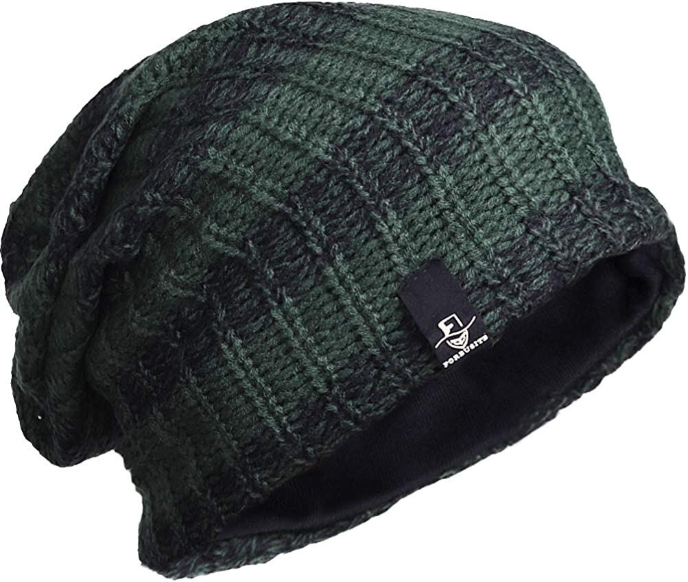 Forbusite Berretto lungo oversize da uomo berretto in maglia per estate e inverno B08