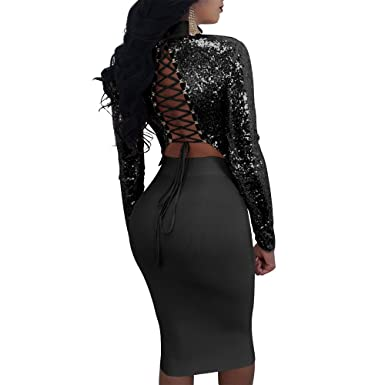 Amazon.com  Speedle Sexy 2 Piece Club Outfits For Women Long Sleeve Lace up Bandage  Crop Top + Midi Skirt  Clothing f2f4fe7df9a8
