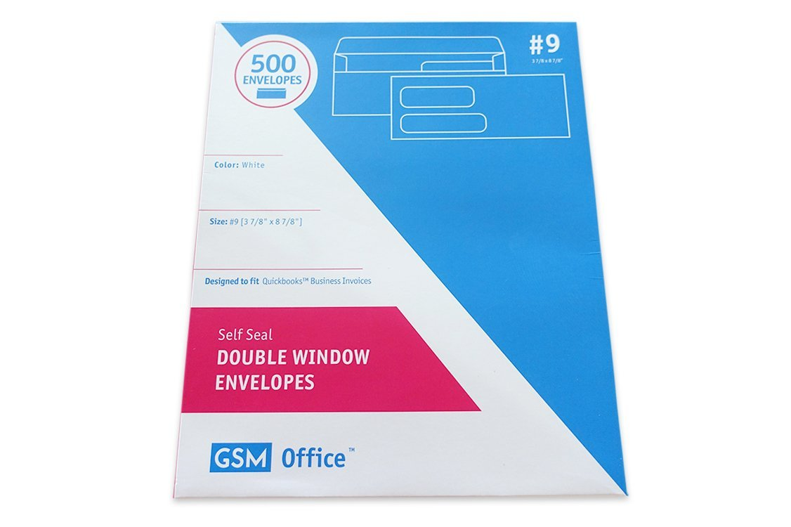 Self Seal Double Window Business Envelopes (#9 - Box of 500), Designed to Fit Quickbooks Business Invoices (3 7/8'' x 8 7/8'')