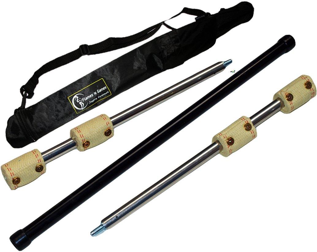 Fire Staffs: ''Cougar'' by FYREFLI travel 3-piece Fire Staff - 1.4m (4 x 65mm wicks) + Flames N Games Travel Bag!