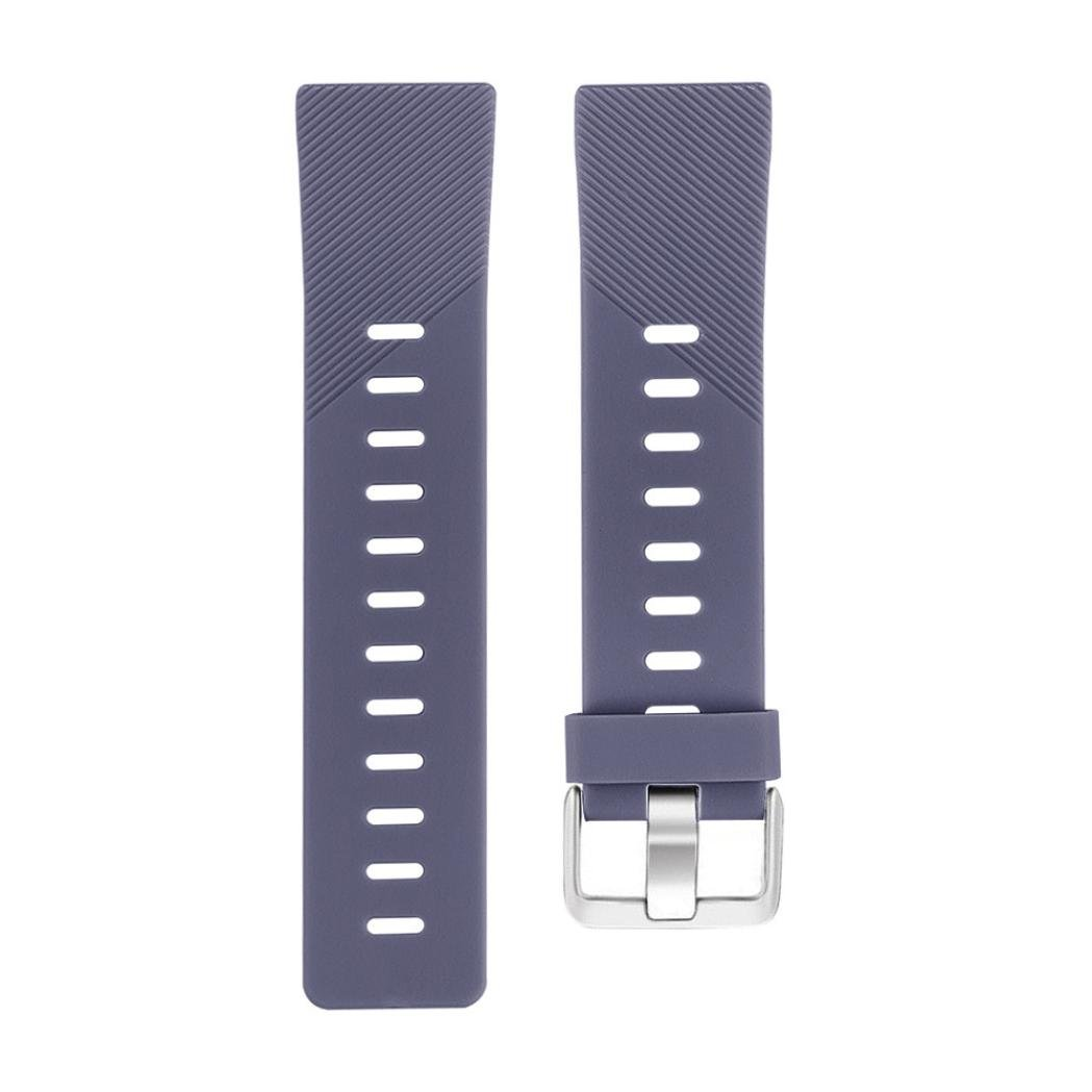 Lovewe Replacement Fashion Sports Twill Silicone Bracelet Strap Band For Fitbit Versa 228mm (Dark Gray)