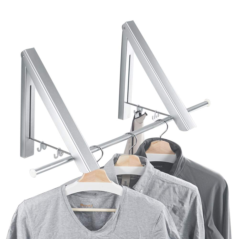 BESy Folding Clothes Hanger Adjustable Drying Rack Retractable Coat Hanger Home Storage Organiser Instant Closet 2 Packs Wall Mounted with Screws,Matte Polished Aluminum