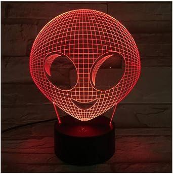 Cute Alien Face 3d Lamp Amazing Visualization Optical Illusion 2d Acrylic Panel Usb Cable 7 Colors Change Base Lamp Touch Amazon Co Uk Lighting
