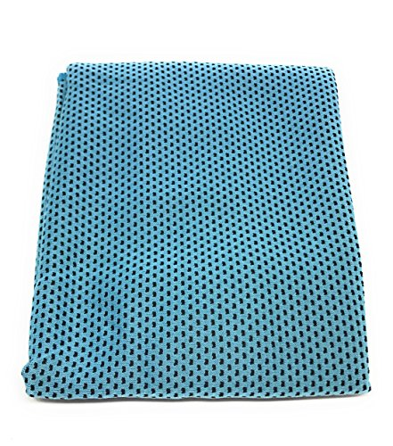 "SportsTowelsPro Super Cooling Towel 11"" X 34"" Snap Technology 98% UV Blocking Rate 50+ UV Protection Index Instant Cooling and Breathable (Teal)"