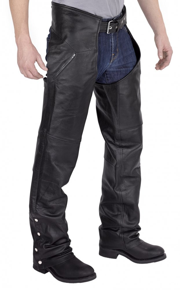 Nomad USA Deep Pocket Elastic Fit Motorcycle Leather Chaps (M)