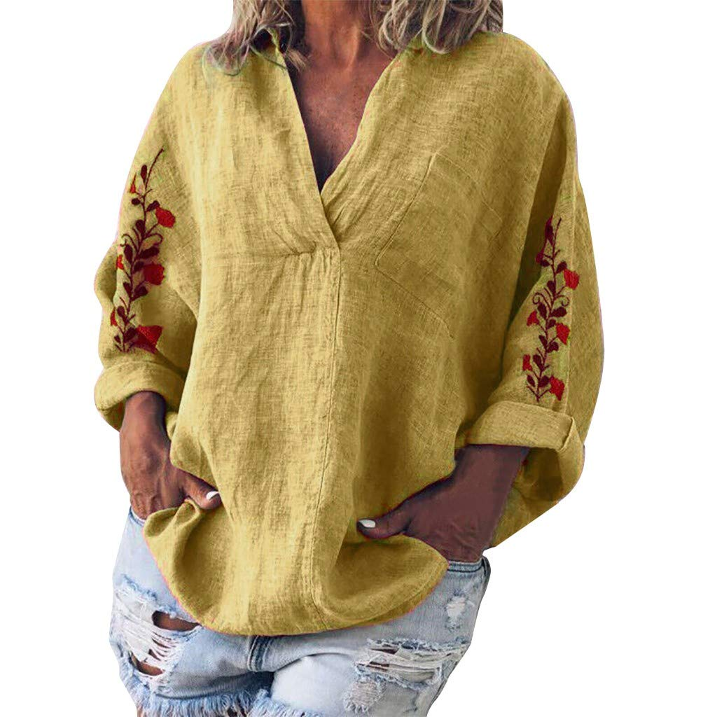 AmyDong Women's Autumn Solid Color V-Neck Blouse Long Sleeve Embroidery Casual Shirt Loose Print Tops S-4XL Yellow by AmyDong Women Blouse