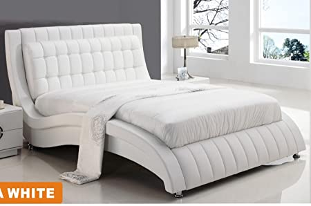 American Eagle Flora Modern White Wave Shaped Platform Bed: Amazon ...