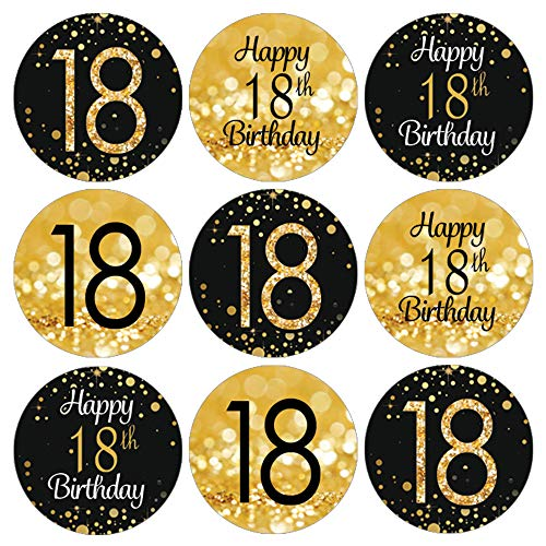 Black and Gold 18th Birthday Party Favor Labels - 180 Stickers