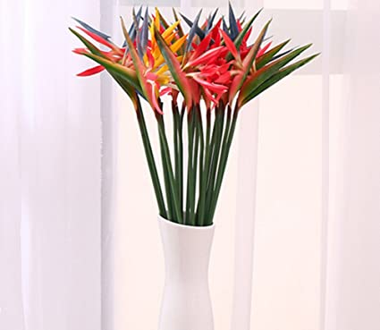 Amazon skyseen 8pcs artificial flowers strelitzia stems fake skyseen 8pcs artificial flowers strelitzia stems fake bird of paradise plant mightylinksfo