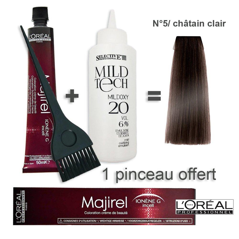 Kit coloration cheveux 50ml Majirel 5/ châtain clair + oxydant 20 volumes 100ml L' OREAL PROFESSIONNEL