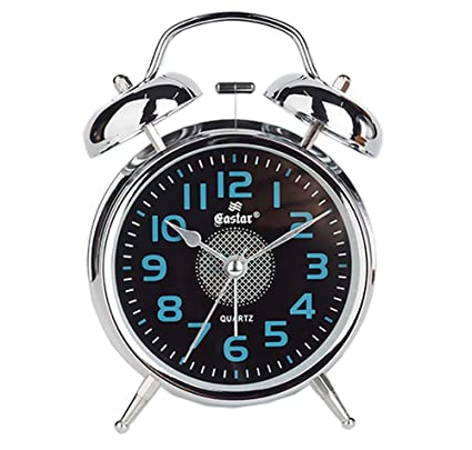 Amazon.com: Foxs Metal Bedside Alarm Clock Mute 4 Inch Twin ...