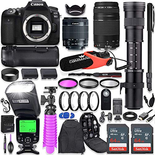 Canon EOS 90D DSLR Camera Kit with Canon 18-55mm & Canon 75-300mm Lenses + 420-800mm Telephoto Zoom Lens + Battery Grip…