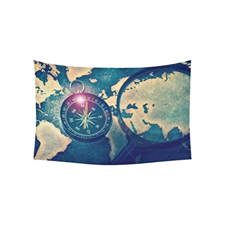 D story wall tapestry compass on grunge world map with lens flare d story wall tapestry compass on grunge world map with lens flare cotton linen tapestry gumiabroncs Choice Image