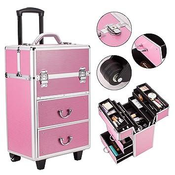 31b3c3eb5499 Amazon.com : Lovinland Makeup Cosmetic Train Case 4 Tier Aluminum ...