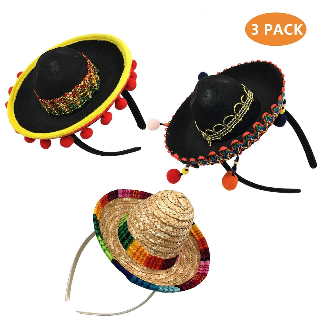 kockuu 3 Pack Cinco de Mayo Sombrero Headband Mini Mexican Party Hat for Fiesta/Carnival/Birthday/Summer Party Decorations Mexican Party Favors by kockuu