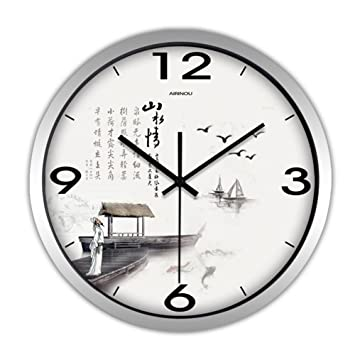 Relojes de Pared Moderno Chino Poeta Gran Sala Simple Mudo Estudio Oficina de Cuarzo Reloj de Mesa: Amazon.es: Deportes y aire libre