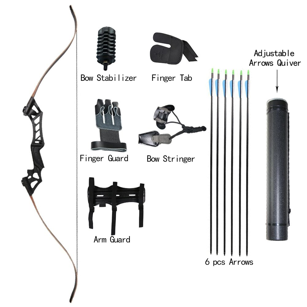 Archery Recurve Bows and Arrows Set 45lbs Takedown Hunting Recurve Bow Adult Right Handed Bow Target Practice Longbow for Outdoor Sports Hunting Shooting Sling Shot Bow Accessories IRQ