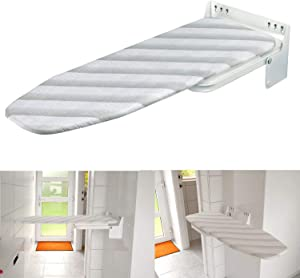Nisorpa Wall Mounted Iron Board Fold Away Laundry Mountable Ironing Board with Heat Resistant Cover Folding House Held Iron Board Space Saving