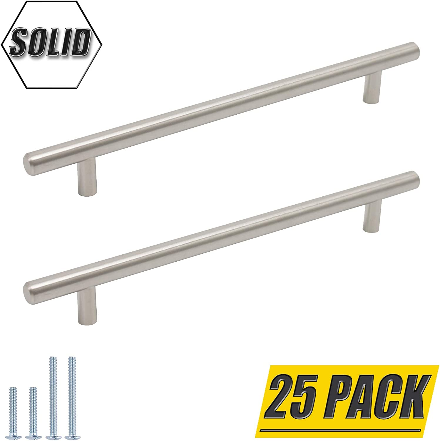 """(25 Pack) Probrico 7-9/16"""" (192Mm) Hole Centers Solid Stainless Steel Brushed Nickel Kitchen Cabinet Pulls Modern Contemporary Euro Round T Leiste Handles Dresser Drawer Cabinet Pulls,10"""" Total Length"""