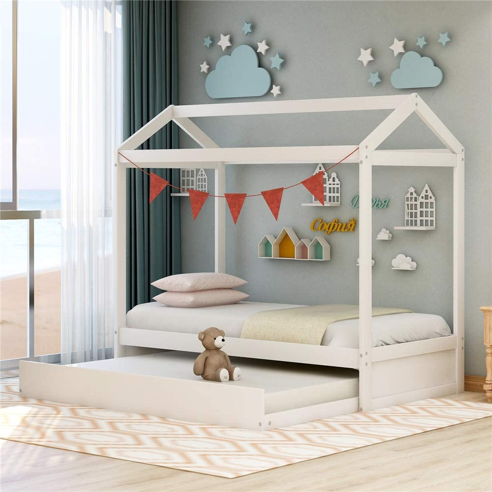 Amazon Com Children House Bed With Trundle Bed For Kids Twin Size Solid Wood Twin Daybed Frame With Trundle Tent Bedroom Furniture Comfort Safe Kitchen Dining