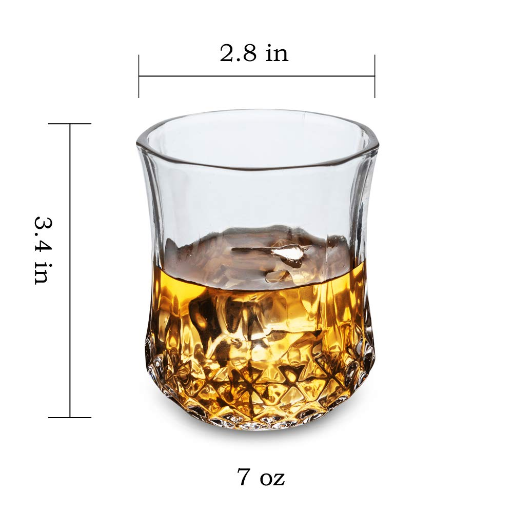 KANARS Small Whiskey Glasses With Unique Elegant Gift Box for Scotch, Bourbon Or Old Fashion Cocktail (7 Oz, Set of 4) by KANARS (Image #4)