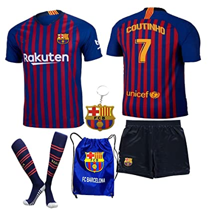 1b7cf7bfb60 Barcelona Messi Suarez Coutinho 2018 19 Kid Youth REPLICA Home Jersey Kit :  Shirt, Short