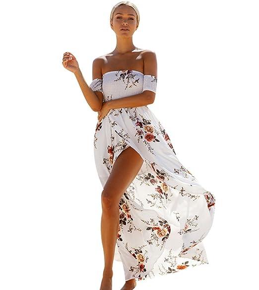 dfae8b526a5fbb Robe Longue Plage Boheme Été Femme Robe Fleurie Maxi Ete Robe Bandeau  Bustier Imprimée Fleur Fete Fluide Epaule nu Col Robes Longues Fleuries ...