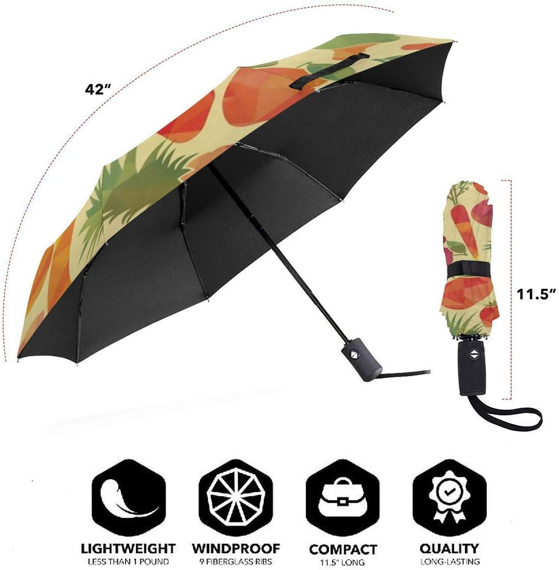Windproof Reinforced Canopy Ergonomic Handle Auto Open//Close Multiple Colors Fruits Compact Travel Umbrella