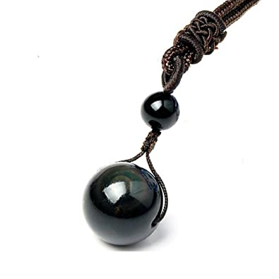 Amazon sinymilk natural black obsidian pendant 16mm rainbow sinymilk natural black obsidian pendant 16mm rainbow eyes beads lucky blessing necklace aloadofball Choice Image