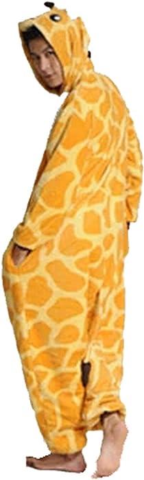 Warm Onesie Pajamas Adult Unisex One Piece Pajamas Casual Tracksuit Cosplay Animal Pajamas Giraffe