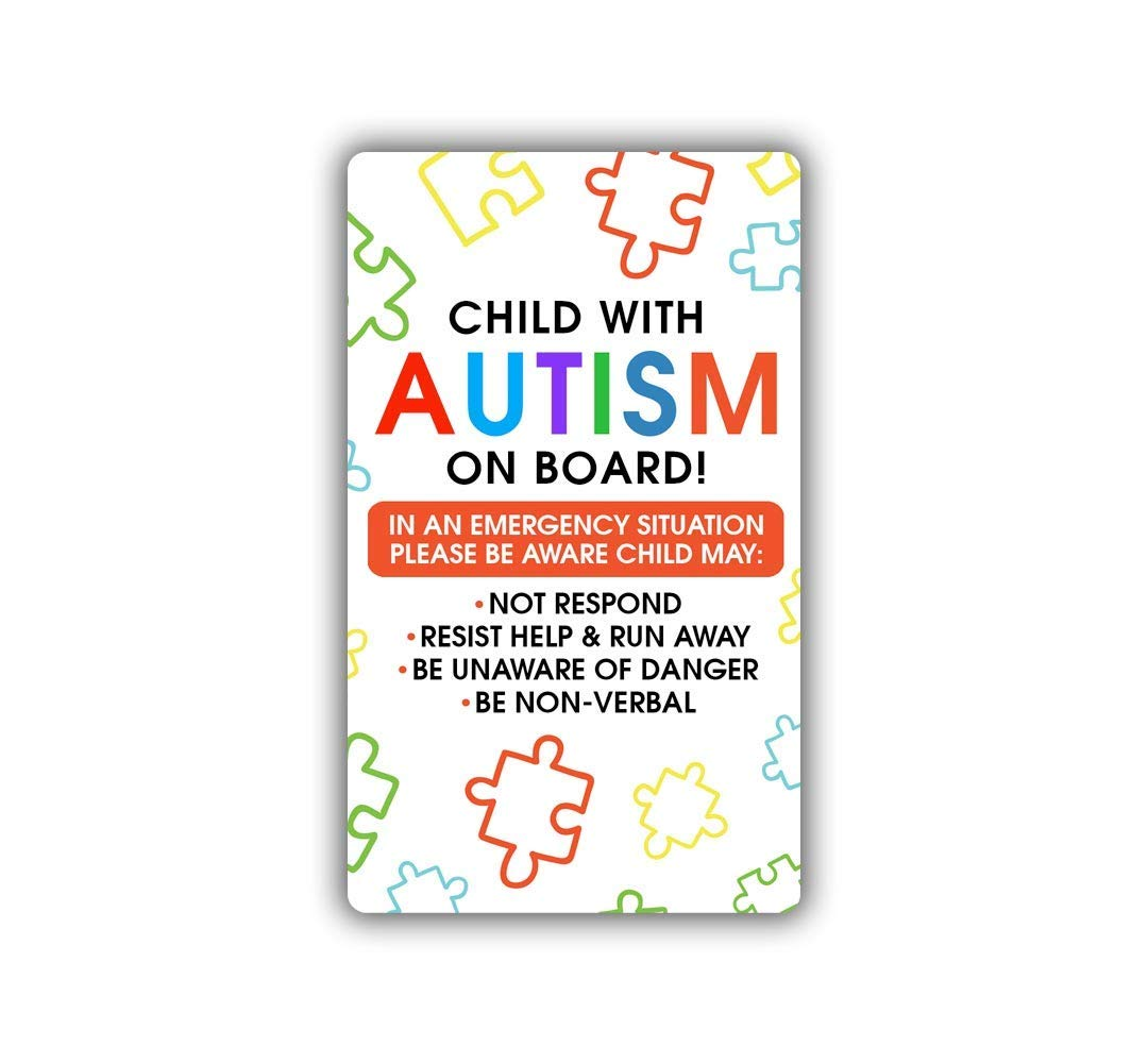 Child with Autism on Board Sticker - Car Truck Door Window Decal - Safety Alert