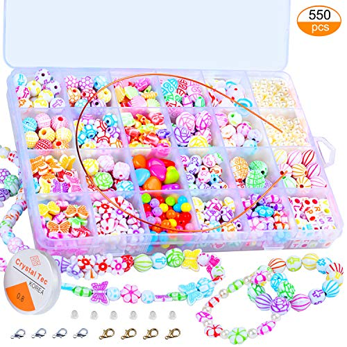 Pinowu Children DIY Beads Set 550 Pieces - 24 Type Assorted Shapes Colorful Acrylic Plastic Beads for DIY Bracelets,Necklaces, Key Chains and Kid Jewelry (Porcelain Beads)