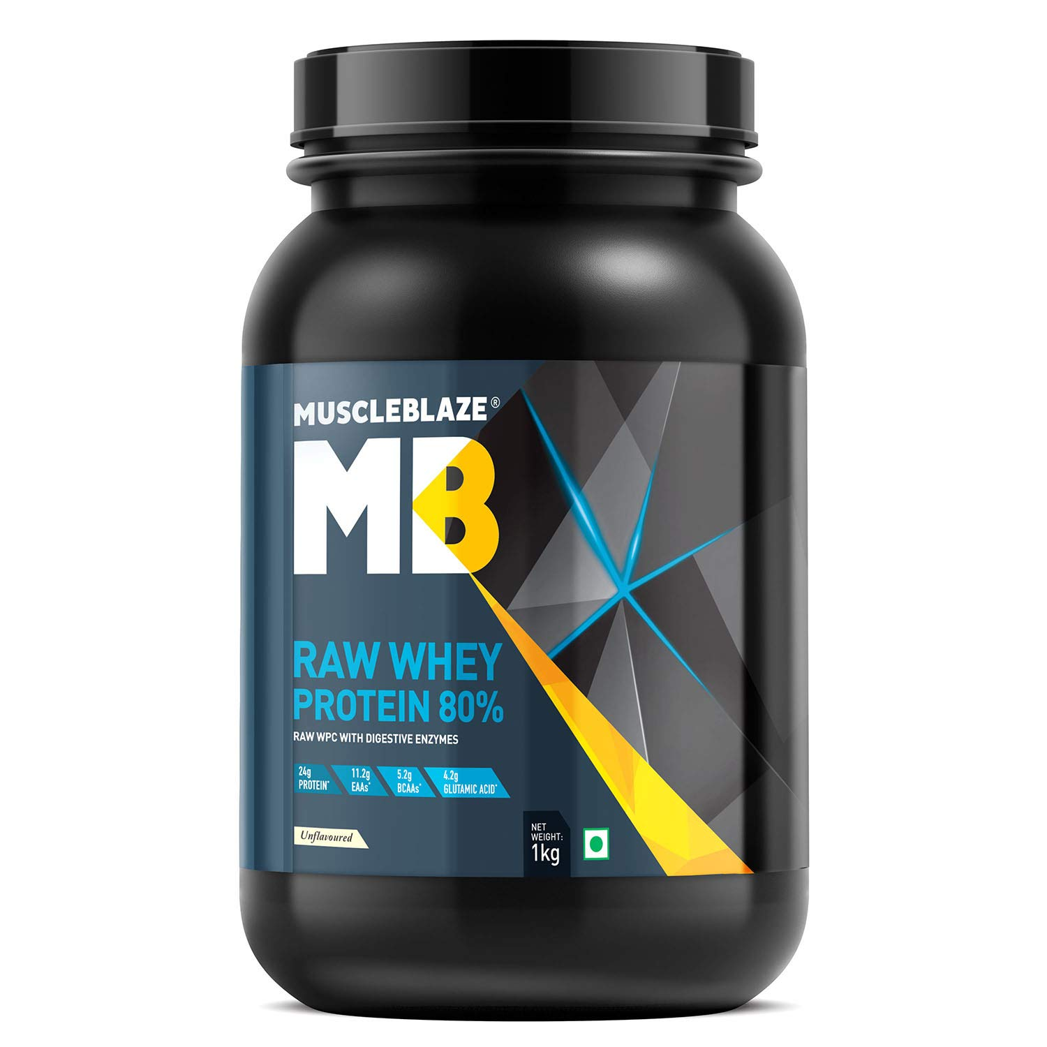 MuscleBlaze Raw Whey Protein Concentrate 80% with added