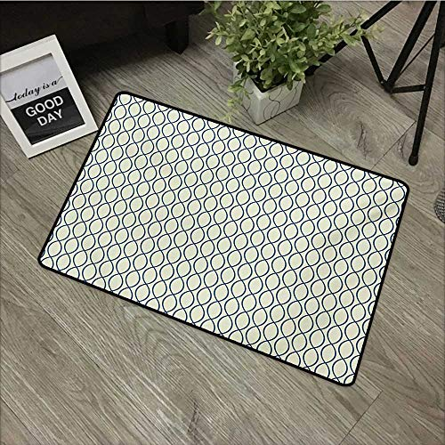 Corridor door mat W31 x L47 INCH Abstract,Vertical Curvy Lines Form Elliptic Shapes Fishing Net Lattice Pattern,Pale Yellow Navy Blue Natural dye printing to protect your baby