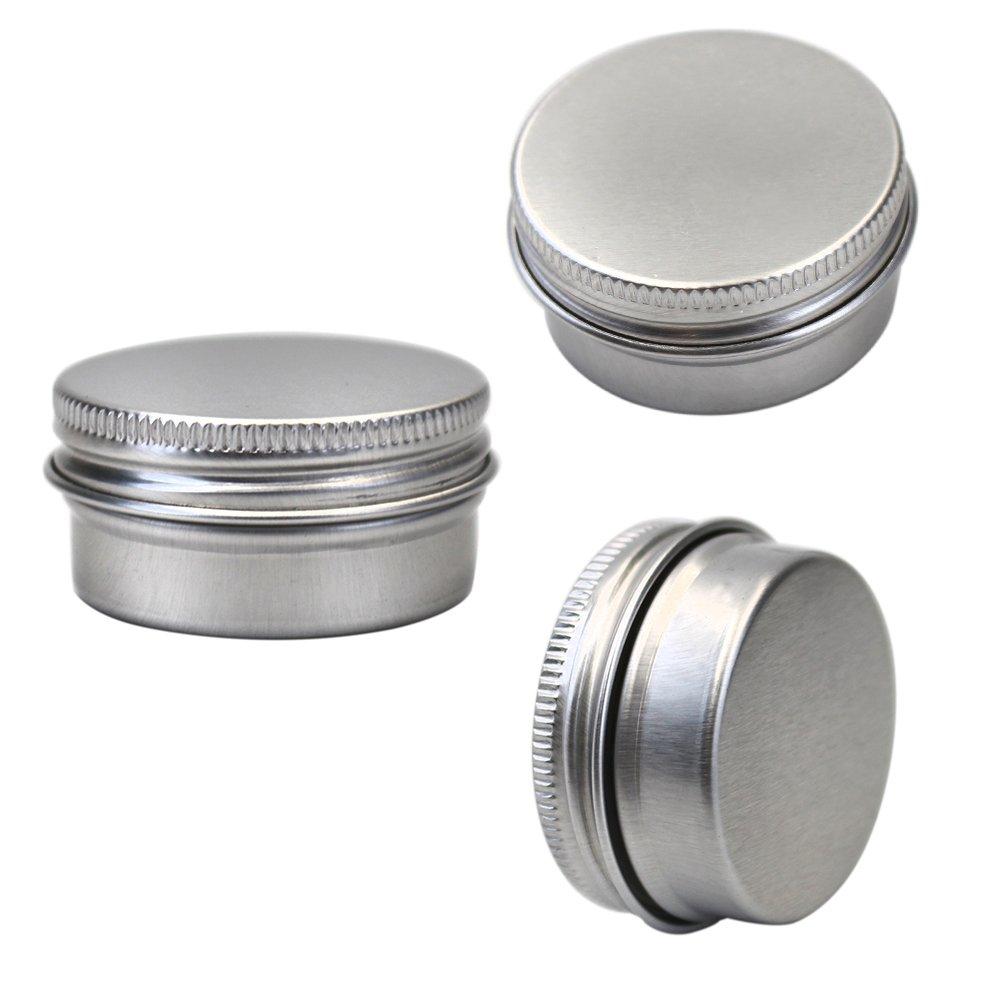M-Aimee 1/2 oz Mini Aluminum Tin Jars Screw Cap Round Storing Can Container,Cosmetic Sample Metal Tins Empty Container,15ml (24 pack)