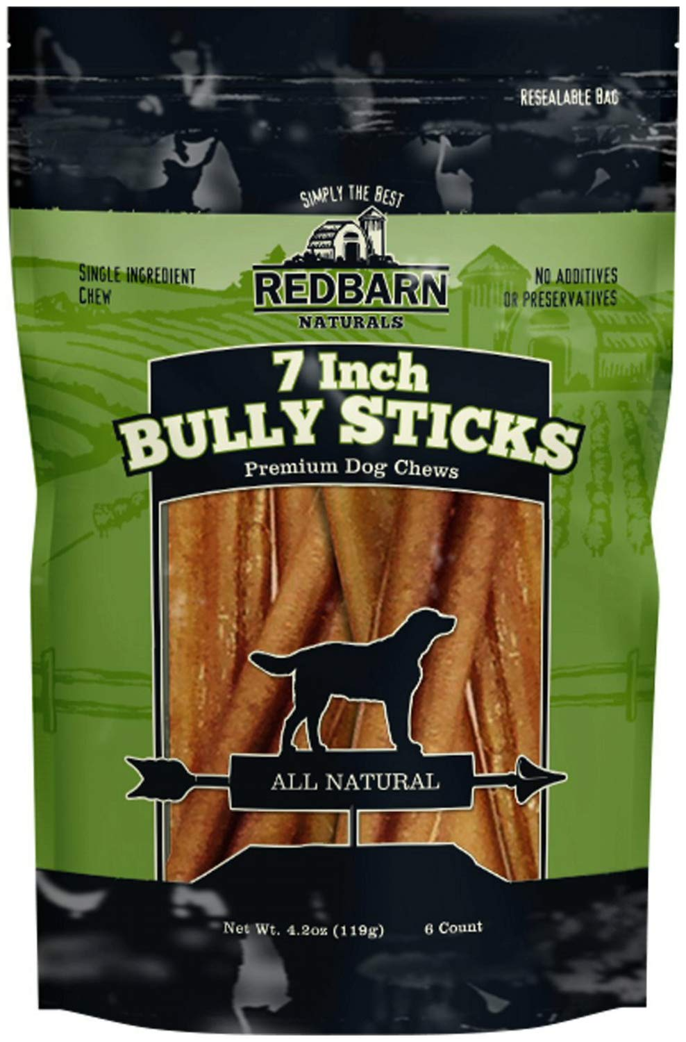 Redbarn Bully Sticks Dog Chews, Naturals, 7 Inch, 6 Count, 3 Pack