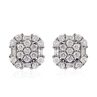 TJC White Diamond Stud Earrings for Women in Platinum Plated Sterling Silver