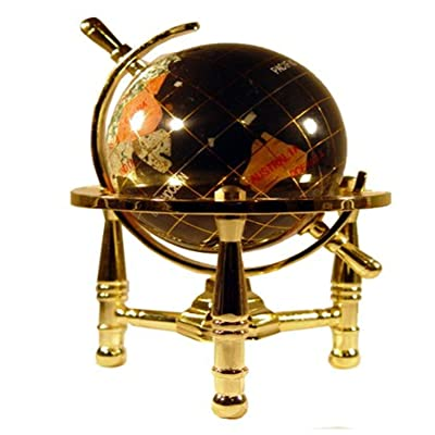 Unique Art 6-Inch by Black Onyx Ocean Mini Table Top Gemstone World Globe with Gold Tripod: Home & Kitchen