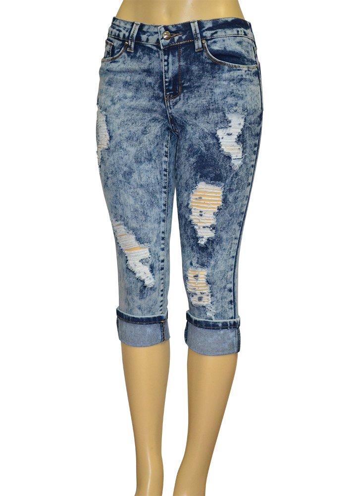 LnLClothing Junior's Low Rise Dark Denim Capri Pants (11, Acid Wash 2291)