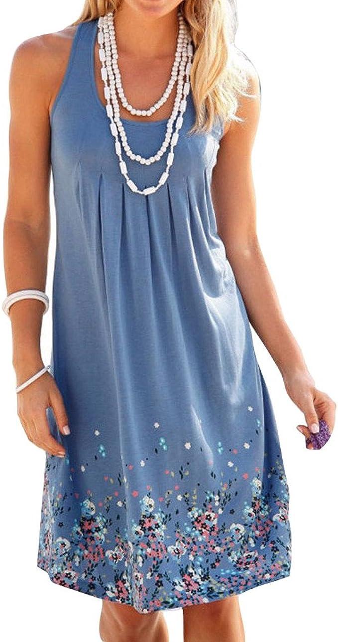 Juleya Damen Sommer Kleid ärmellos Drucken Kleid A-Linie Knielang  Strandkleid Casual Lose Sommerkleid S-XXL