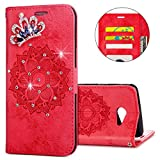 IKASEFU Galaxy J5 2017 Case,3D Clear Crown Rhinestone Diamond Bling Glitter Wallet with Card Holder Emboss Mandala Floral Pu Leather Magnetic Flip Protective Cover for Samsung Galaxy J5 2017,Red