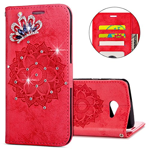 IKASEFU Galaxy J5 2017 Case,3D Clear Crown Rhinestone Diamond Bling Glitter Wallet with Card Holder Emboss Mandala Floral Pu Leather Magnetic Flip Protective Cover for Samsung Galaxy J5 2017,Red by IKASEFU