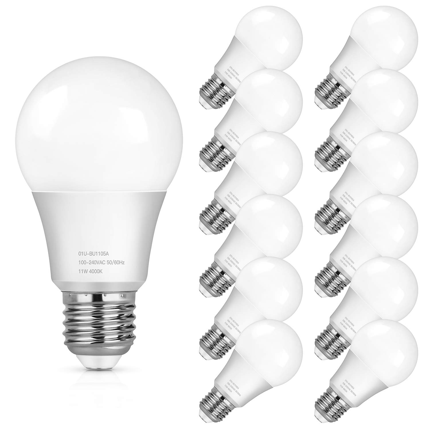 A19 LED Light Bulbs, 100 Watt Equivalent LED Bulbs Daylight White, 1100 Lumens, No Flicker E26 Medium Screw Base Bulbs, Non Dimmable, 12-Pack