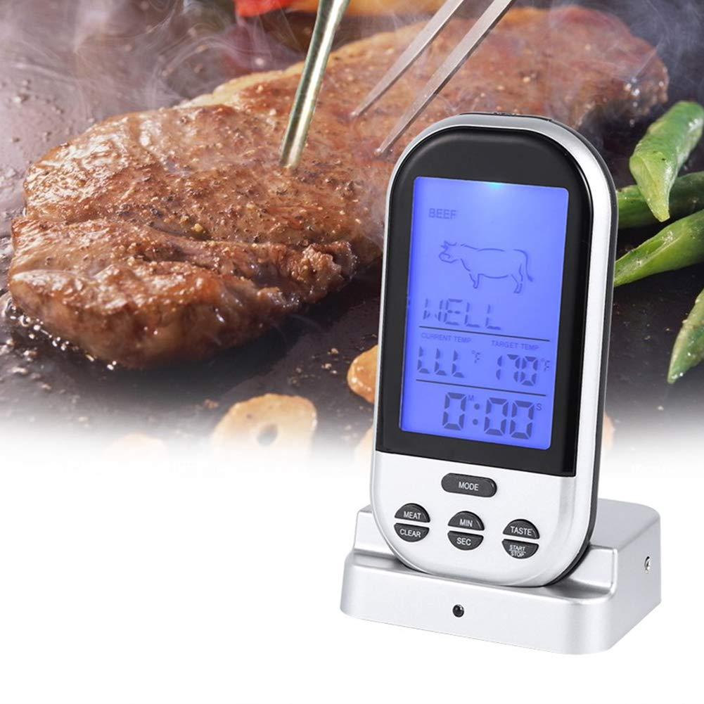 Wireless Remote Digital Kitchen Food Meat Cooking Electronic Thermometer with Dual Probe for Smoker Grill Oven BBQ, Sliver